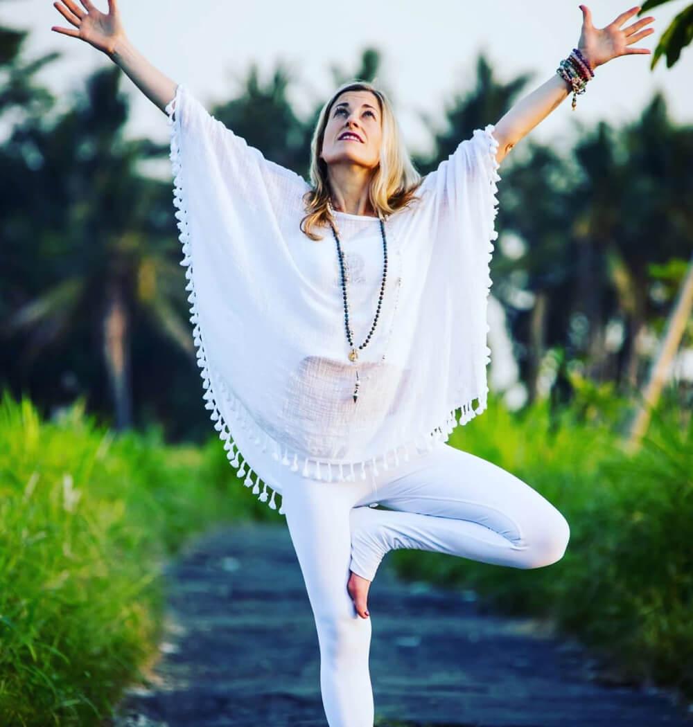 Yoga teacher Marta Antero in tree pose