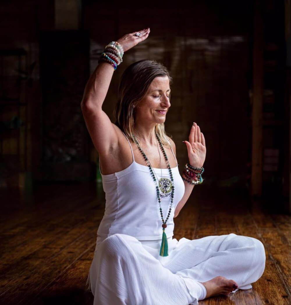 Yoga teacher Marta Antero doing Kundalini yoga from home