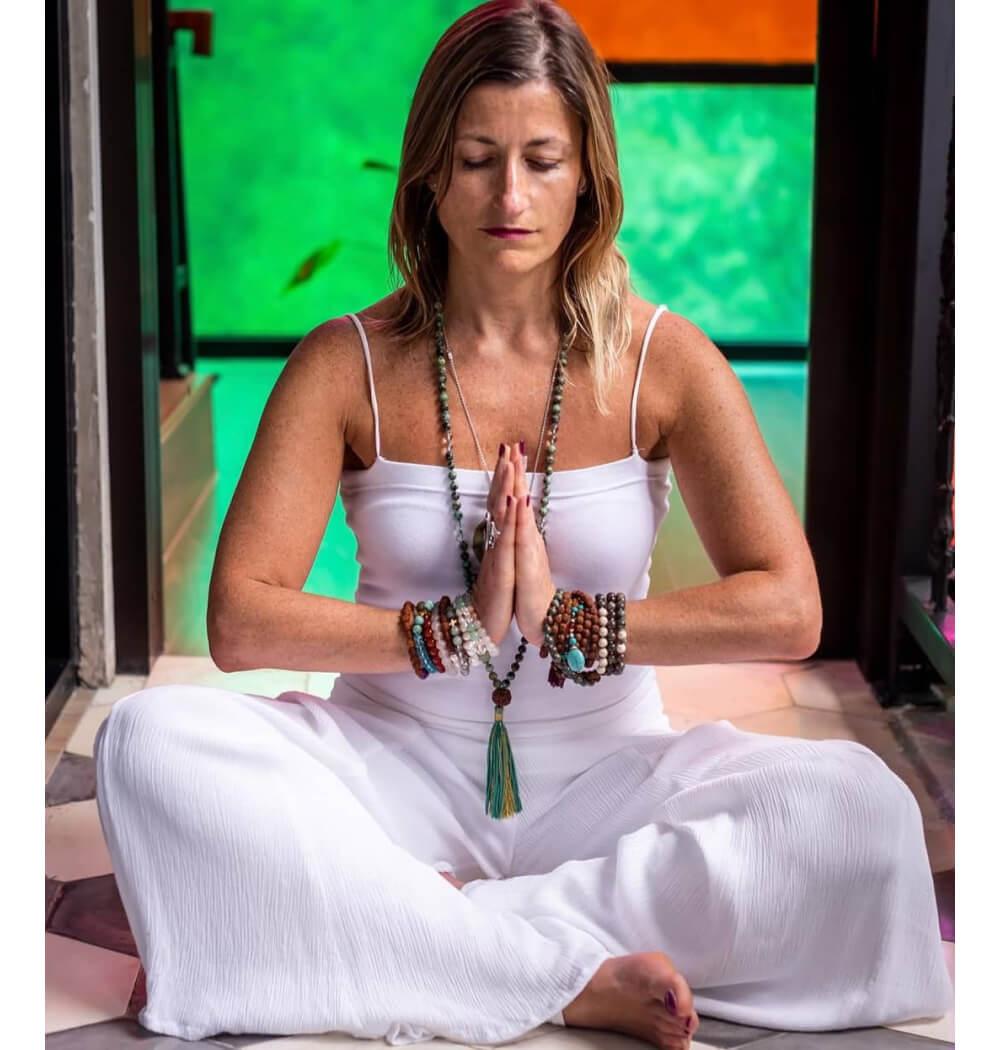 Yoga teacher Marta Antero with Namaste mudra