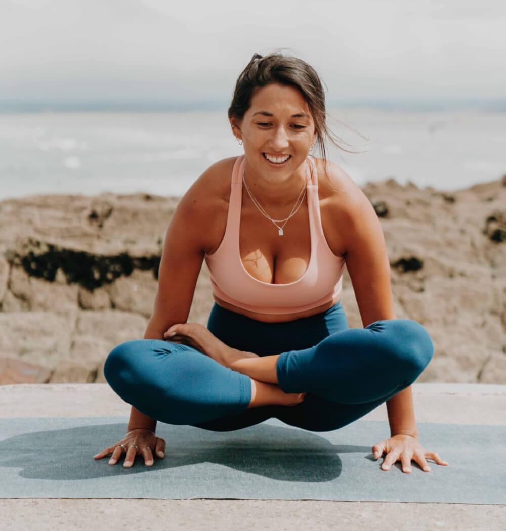 Yoga teacher Marisse Gaskell in Tolasana pose