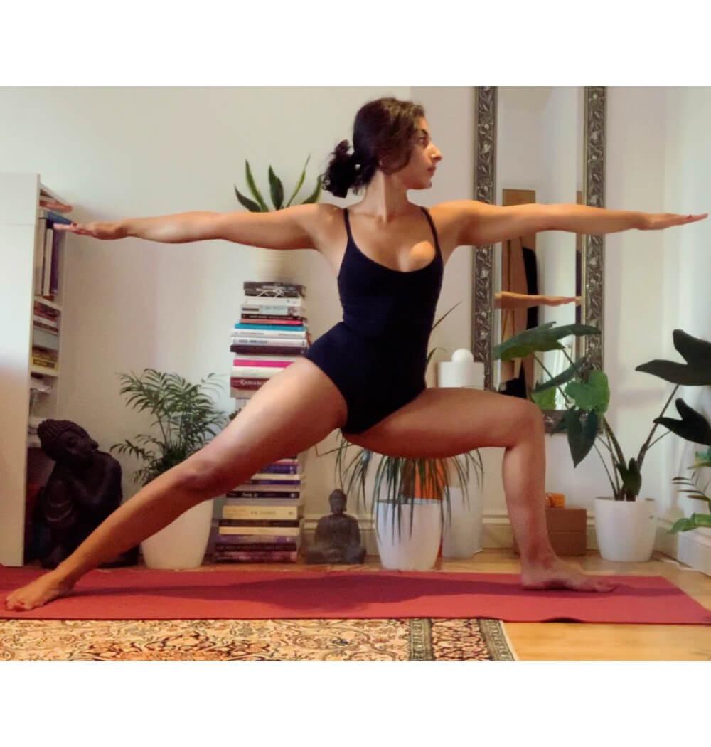 Yoga teacher Negeen Aram in Warrior Two