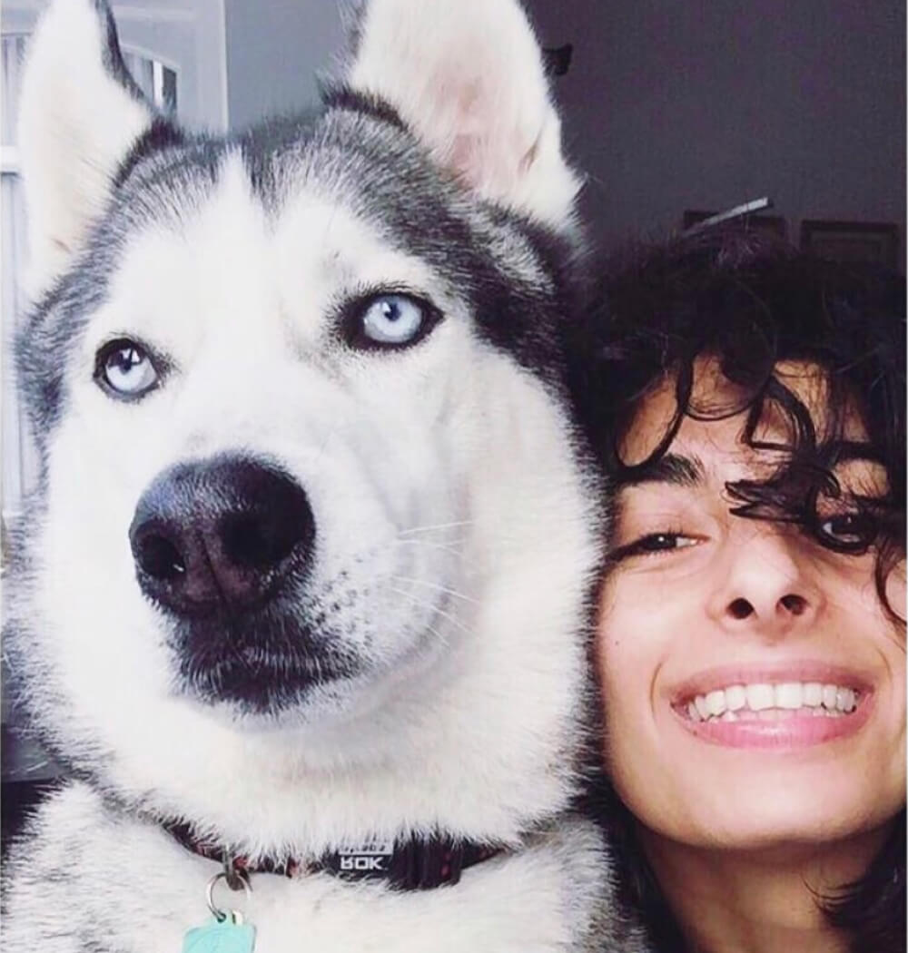 Yoga teacher Negeen Aram portrait with dog