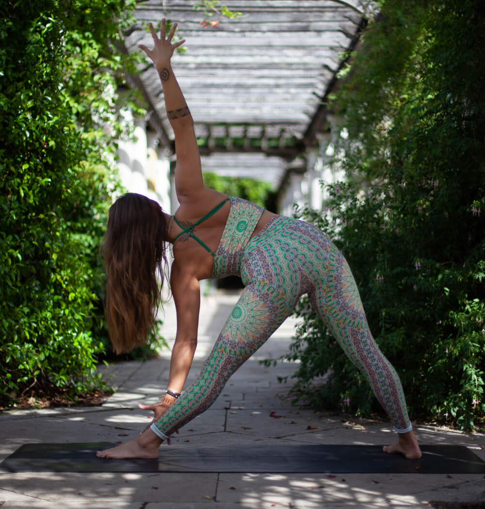 Yoga teacher Aimee Warren in triangle pose