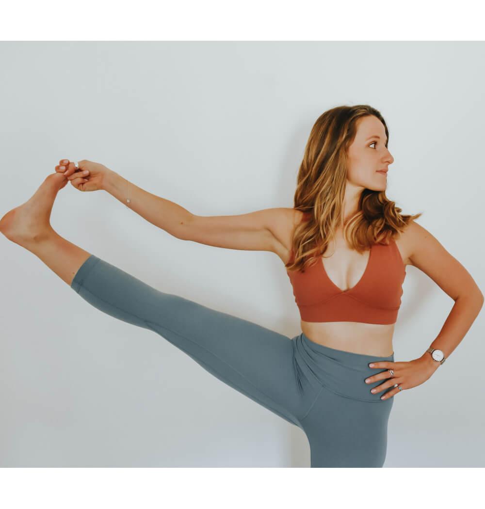 Yoga teacher Abbie Biscoe in Utthita Hasta Padangusthasana
