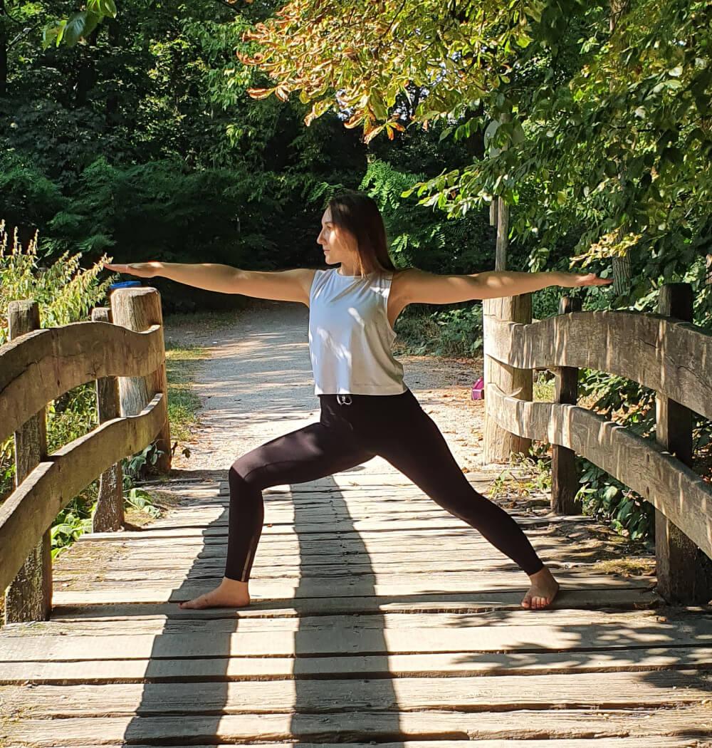 Yoga teacher Anja Villaverde in Warrior Two pose