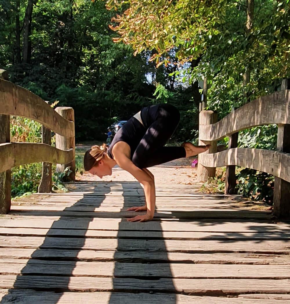 Yoga teacher Anja Villaverde in Bakasana crow pose