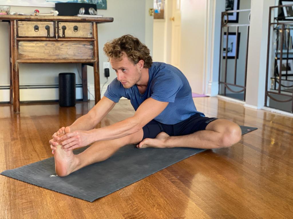 Yoga instructor Connor Roff in Janu Sirsasana