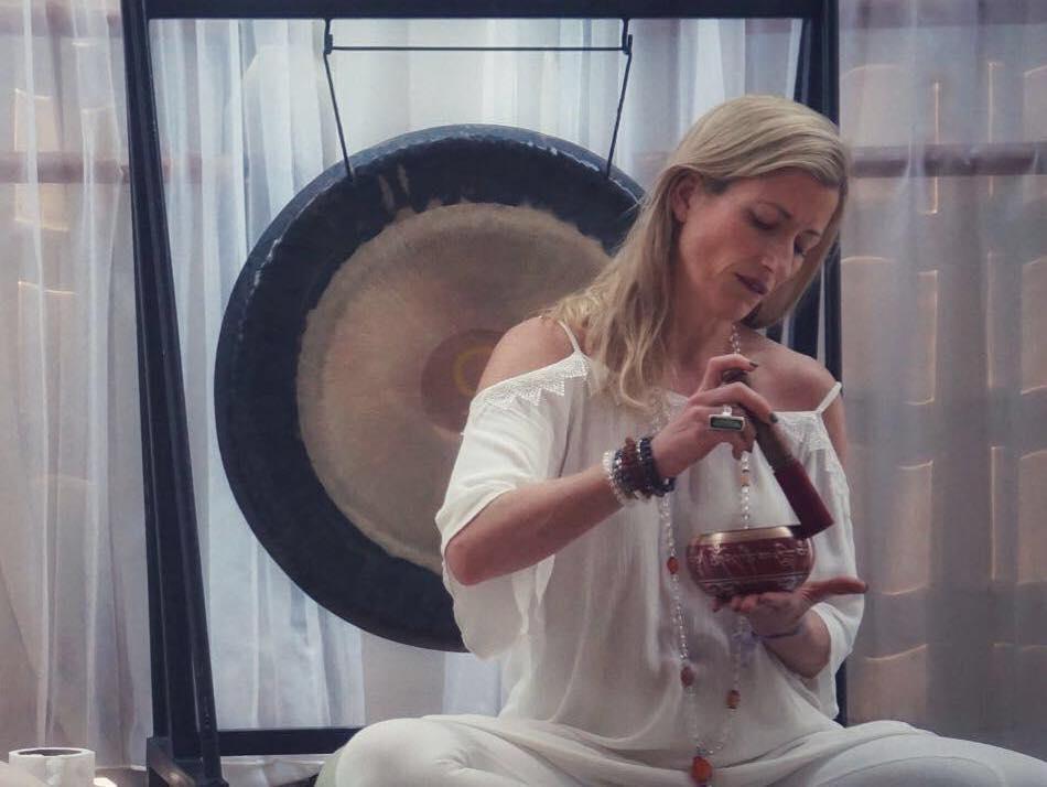 Yoga Teacher Marta Antero with sound bowl
